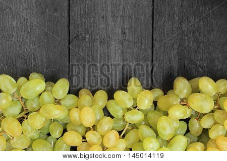 Close up view of ripe green wine grape. View with fresh green grape. Ripe grapes background. Free place for text.Top view