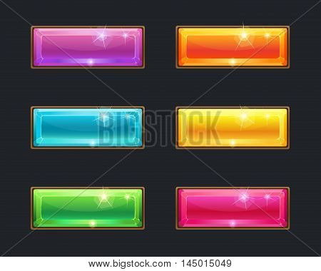 Set of cartoon long crystal horizontal buttons, vector gui assets collection for game design. isolated vector elements. Gui elements, vector isolated games assets.menu set for mobile games.