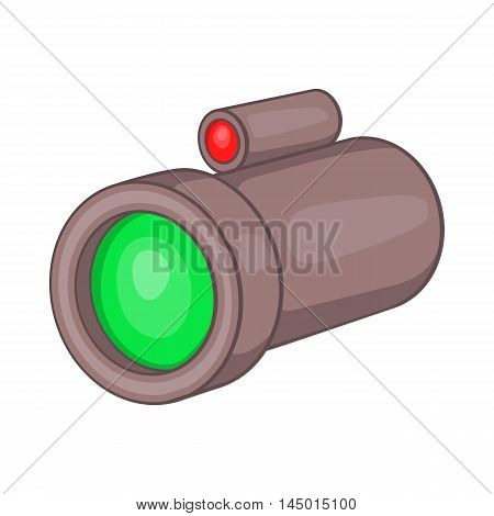 Sniper rifle telescope scope glass lens icon in cartoon style on a white background