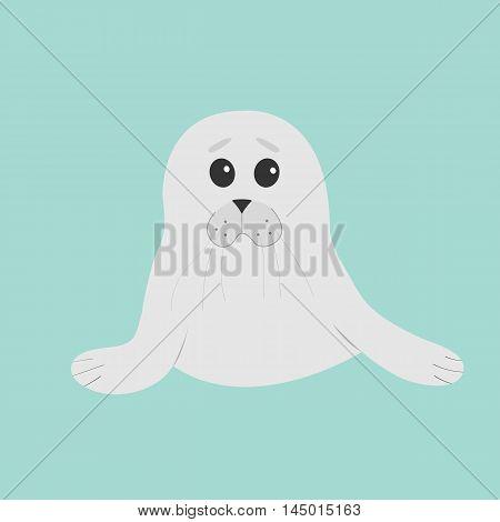 Cute seal pup baby harp. Cartoon character. Blue background. Flat design Vector illustration