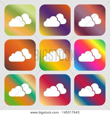 Clouds Icon . Nine Buttons With Bright Gradients For Beautiful Design. Vector