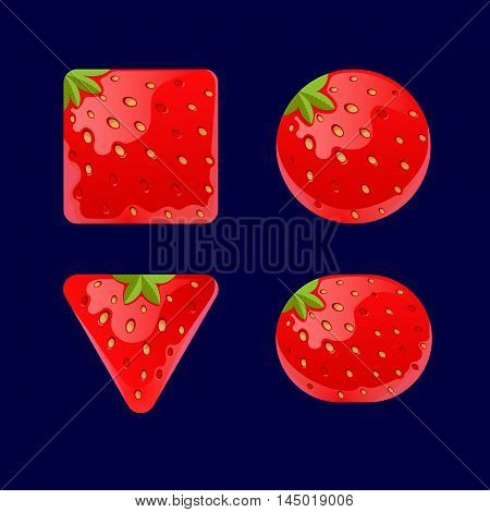 Vector illustration of a set of Cartoon red buttons, Strawberry kit for game ui development, vector gui elements. Menu buttons for web and game design.isolated on dark background