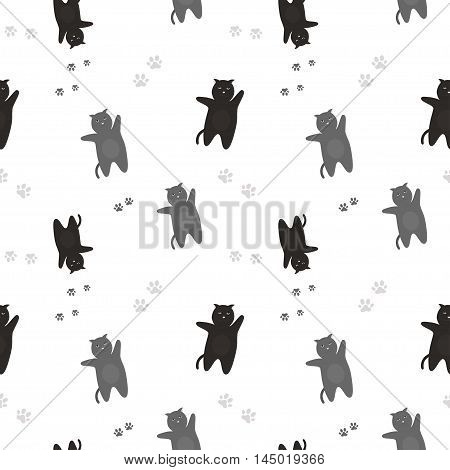 Cats Seamless Pattern. The pattern of black and gray cats with traces of feet. On a white background. , vector