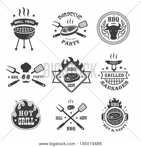 Barbecue and grill labels set. BBQ emblems and badges collection. Grill tongs forks spatulas roasted meat or sausage menu design elements. Vector illustration.
