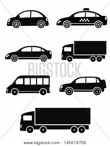 black isolated cars set on white background