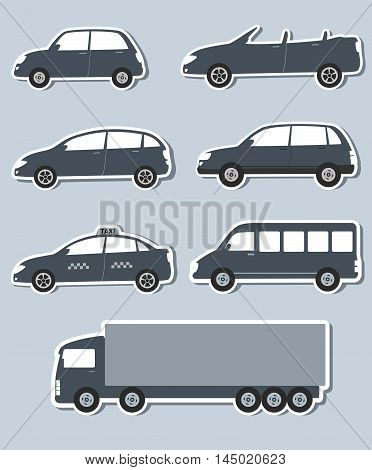 set of paper stickers with grey car image