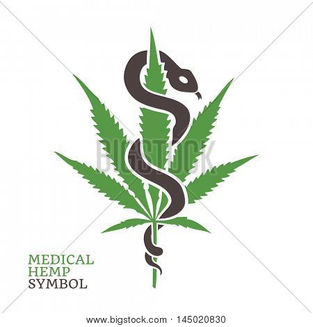 Medical Hemp Symbol. Snake wrapped around a marijuana leaf. Vector illustration.