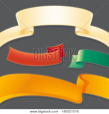 Set of four vintage vector color ribbons