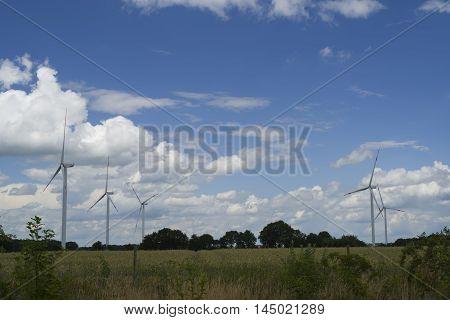 Environmental friendly alternative energy by wind turbines (windfarm)