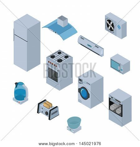Household appliances isometric icons set with refrigerator, stove, washing machine, dishwasher, extractor, microwave, kettle, toaster and scales isolated vector illustration