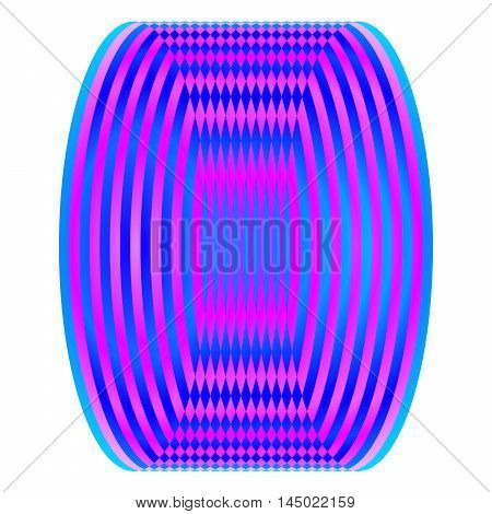 Optic Illusion With Blue And Pink Geometric Shape.