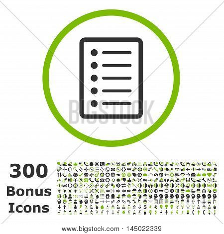 List Page rounded icon with 300 bonus icons. Vector illustration style is flat iconic bicolor symbols, eco green and gray colors, white background.