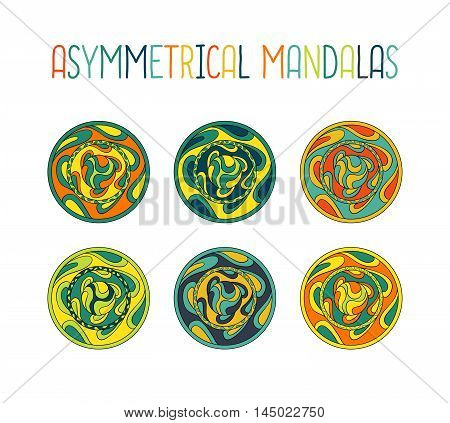 Asymmetrical Colorful Mandala Design Set With Drops In A Circle Geometric Shape.