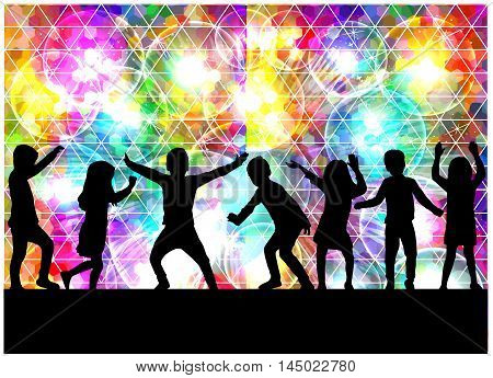 Children silhouette. Abstract background. Colorful glowing background with geometric figures.