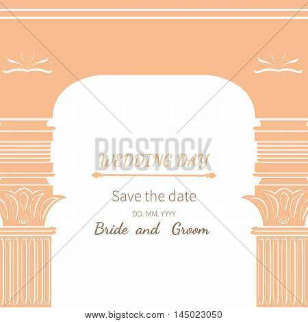 Postcard invitation to wedding. Frame vintage archway ornate royal architecture