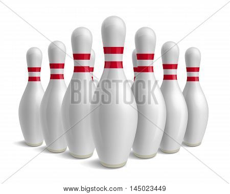 Group of bowling pins. Skittles with red stripes. Sport competition. Activity and fun game. Vector illustration isolated on white background