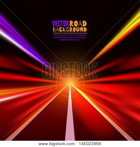Travel concept background blurred road.Abstract image of speed motion on the road at night time.