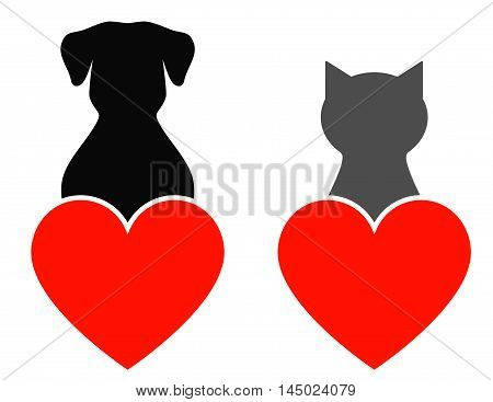dog and cat with red heart on white background