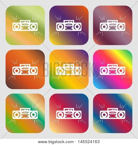 Radio Cassette Player Sign Icon . Nine Buttons With Bright Gradients For Beautiful Design. Vector