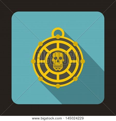Pirate medallion with skull icon in flat style isolated with long shadow
