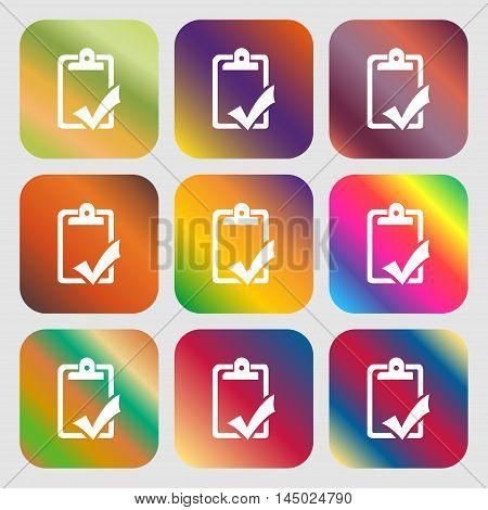 Document Grammar Control, Test, Work Complete Sign Icon . Nine Buttons With Bright Gradients For Bea