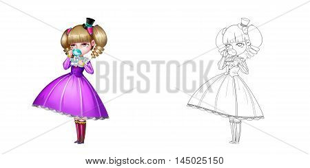 Noble Girl, A Princess, Drinking Tea. Coloring Book, Outline Sketch, Human Character Design isolated on White Background
