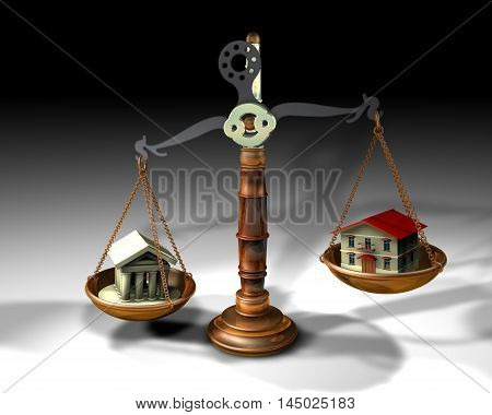 3d illustration of a scale with house and temple