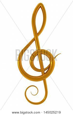 3d illustration of a golden treble clef over white background
