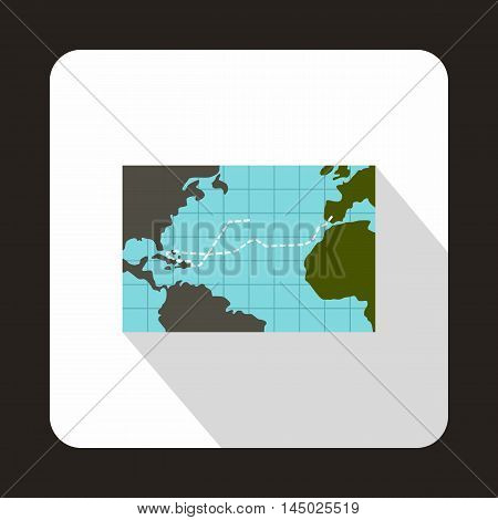 Christopher Columbus voyage map icon in flat style isolated with long shadow