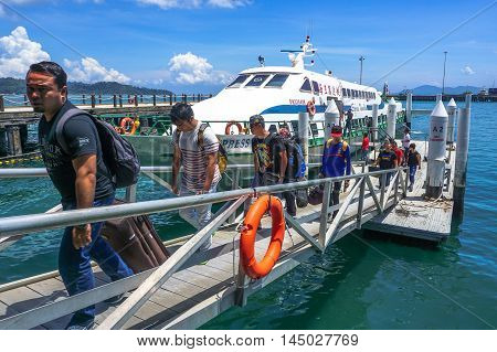 Kota Kinabalu,Sabah-Aug 30,2016:Labuan Express ferry carries passengers from Labuan island to Sabah,Borneo.Its a passenger ferry service operator,tourist attraction & cheaper transportation to Labuan