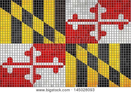 Mosaic flag of Maryland with effect,  Abstract Grunge Maryland Flag