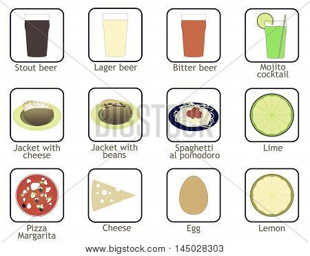 Food And Drink Icons Vintage