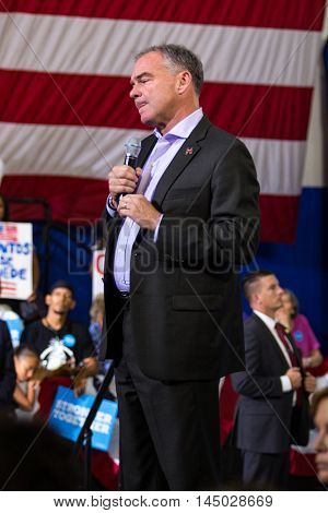 Lancaster PA - August 30 2016: Virginia Senator Tim Kaine Democrat Party Vice Presidential Candidate speaks at a campaign appearance at a rally.