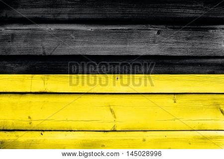 Flag Of Namur, Wallonia Region, Belgium, Painted On Old Wood Plank Background