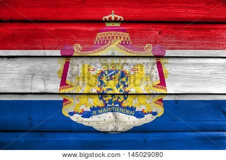 Flag Of Netherlands With Coat Of Arms, Painted On Old Wood Plank Background
