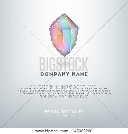 Holographic crystal gemstone logo illustration