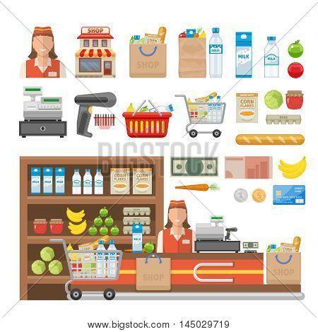 Supermarket decorative elements set with employee equipment of shop food cash and banking card isolated vector illustration