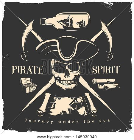 Black pirates print or poster with headline pirate spirit journey under the sea vector illustration