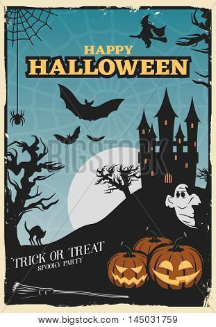 Halloween party poster with lanterns of jack and haunted house on spiderweb background with moon  vector illustration