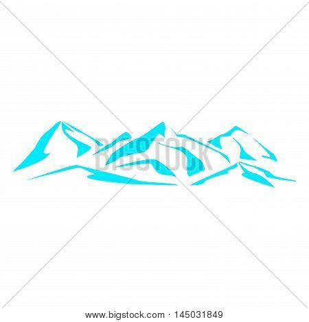 Drawing the mountain range. Symbolic image. Series consisting of mountains