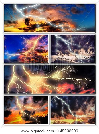 Night strong lightning collage