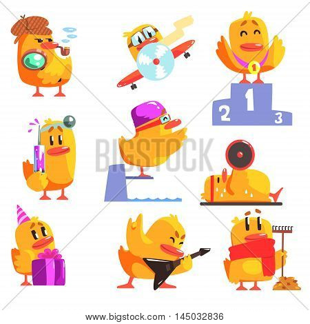 Duckling Different Activities Set Of Cool Character Stickers. Little Duck In Funny Situations Childish Cartoon Graphic Illustrations On White Background.