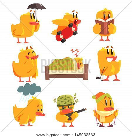 Duckling Different Activities Collection Of Cute Character Stickers. Little Duck In Funny Situations Childish Cartoon Graphic Illustrations On White Background.