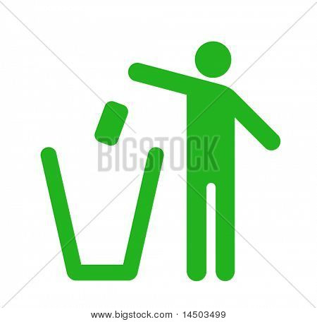 Icon of a man that throw the rubbish into the bin. Rispect the environment
