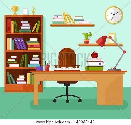 Flat design vector illustration of comfortable kids room or home workplace with table, bookcase, lamp, files, book, bookshelves, prize goblets, clock, chair. Learning concept.