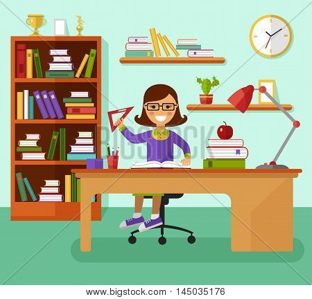 Kid learns concept. Smiling girl in glasses reading book and learning in her room at the working desk, lamp, bookcase, ruler, files, book, prize goblets. Flat design vector illustration.