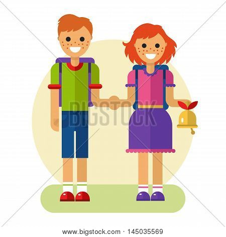 Flat design vector illustration of funny smiling boy and girl holding their hands and going to school with backpack and bell. Back to school concept.
