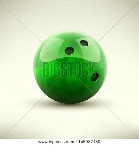 Green bowling ball isolated realictic vector illustration
