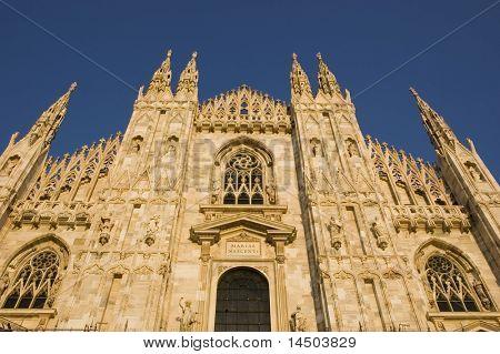 The impressive marble facade of the dome Santa Maria Nascente in Milan - Italy
