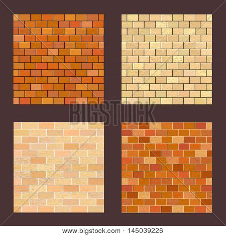 Set brick different color on dark background.  Vector illustration with various types of masonry.  Square location.